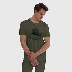 Пижама хлопковая мужская Whale forest цвета меланж-хаки — фото 2