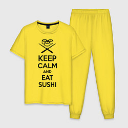 Пижама хлопковая мужская Keep Calm & Eat Sushi цвета желтый — фото 1