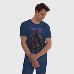 Пижама хлопковая мужская Ведьма цвета тёмно-синий — фото 2