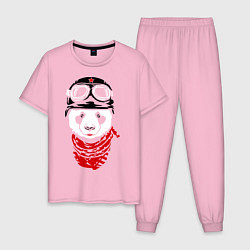 Пижама хлопковая мужская Панда байкер цвета светло-розовый — фото 1