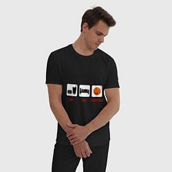 Пижама хлопковая мужская Еда, сон и баскетбол цвета черный — фото 2