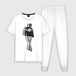 Пижама хлопковая мужская Дженифер Лопес цвета белый — фото 1