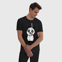 Пижама хлопковая мужская Панда повесилась цвета черный — фото 2