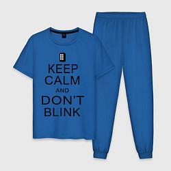Пижама хлопковая мужская Keep Calm & Don't Blink цвета синий — фото 1