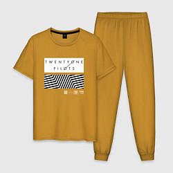 Пижама хлопковая мужская TOP: Geometry цвета горчичный — фото 1
