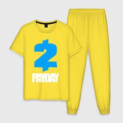 Пижама хлопковая мужская PAYDAY 2 цвета желтый — фото 1