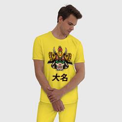 Пижама хлопковая мужская Даймё самурай цвета желтый — фото 2