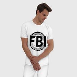 Пижама хлопковая мужская FBI Agency цвета белый — фото 2