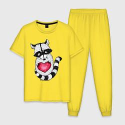 Пижама хлопковая мужская Енот с сердцем цвета желтый — фото 1