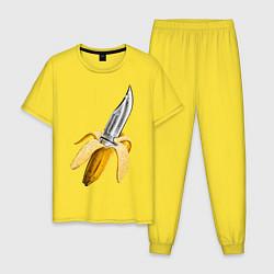 Пижама хлопковая мужская Banana Knife цвета желтый — фото 1