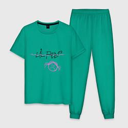 Пижама хлопковая мужская Lil Peep цвета зеленый — фото 1