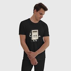 Пижама хлопковая мужская Monday цвета черный — фото 2