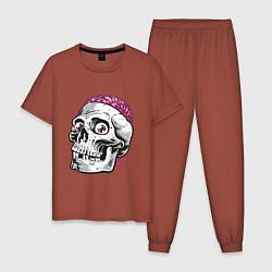 Пижама хлопковая мужская Череп цвета кирпичный — фото 1