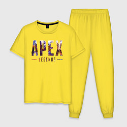 Пижама хлопковая мужская Apex цвета желтый — фото 1