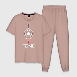 Пижама хлопковая мужская TONE цвета пыльно-розовый — фото 1