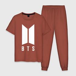 Пижама хлопковая мужская BTS JUNG KOOK цвета кирпичный — фото 1