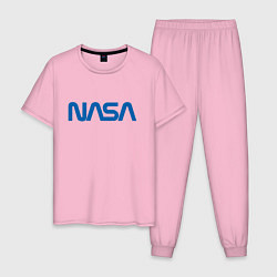 Пижама хлопковая мужская NASA цвета светло-розовый — фото 1