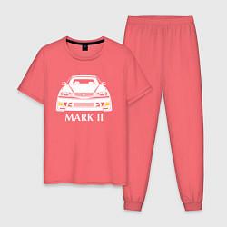 Пижама хлопковая мужская Toyota Mark2 JZX100 цвета коралловый — фото 1