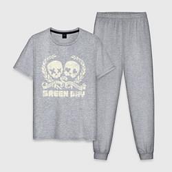 Пижама хлопковая мужская Green Day: Skulls Love цвета меланж — фото 1