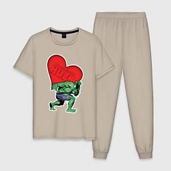 Пижама хлопковая мужская Hulk Heart цвета миндальный — фото 1