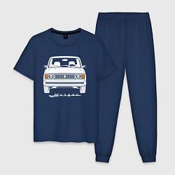 Пижама хлопковая мужская Жигули Ваз 2105 цвета тёмно-синий — фото 1