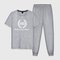 Пижама хлопковая мужская Balenciaga Fashion цвета меланж — фото 1