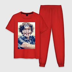 Пижама хлопковая мужская Keep Calm & Love Harry Styles цвета красный — фото 1