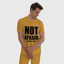 Пижама хлопковая мужская Not Afraid цвета горчичный — фото 2