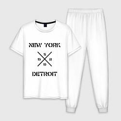 Пижама хлопковая мужская NY Detroit цвета белый — фото 1