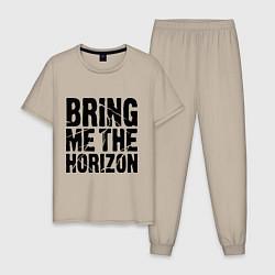 Пижама хлопковая мужская Bring me the horizon цвета миндальный — фото 1