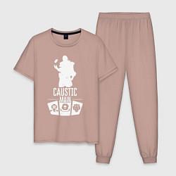 Пижама хлопковая мужская AL: Caustic Main цвета пыльно-розовый — фото 1