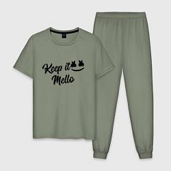 Пижама хлопковая мужская Keep it Mello цвета авокадо — фото 1