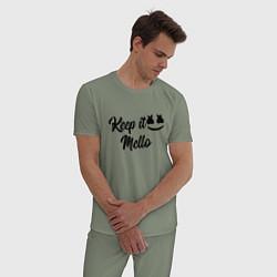 Пижама хлопковая мужская Keep it Mello цвета авокадо — фото 2