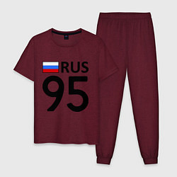 Пижама хлопковая мужская RUS 95 цвета меланж-бордовый — фото 1