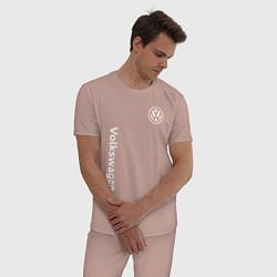 Пижама хлопковая мужская VOLKSWAGEN цвета пыльно-розовый — фото 2