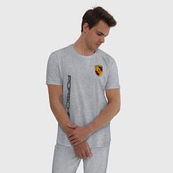 Пижама хлопковая мужская PORSCHE цвета меланж — фото 2