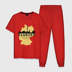 Пижама хлопковая мужская Гамбург - Германия цвета красный — фото 1