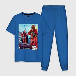 Пижама хлопковая мужская GTA V: Criminal Action цвета синий — фото 1