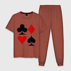 Пижама хлопковая мужская Масти карт цвета кирпичный — фото 1