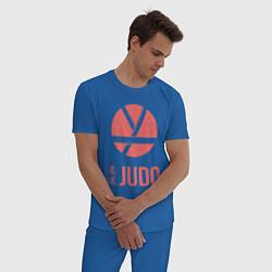 Пижама хлопковая мужская Дзюдо цвета синий — фото 2