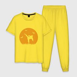 Пижама хлопковая мужская Карате цвета желтый — фото 1