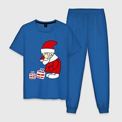 Пижама хлопковая мужская Дед мороз с подарками цвета синий — фото 1