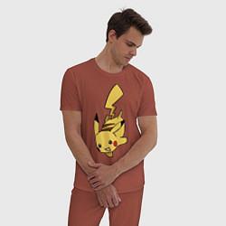 Пижама хлопковая мужская Радостный Пикачуха цвета кирпичный — фото 2