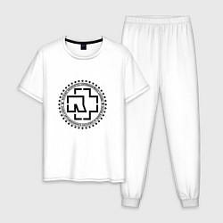 Пижама хлопковая мужская Rammstein Logo цвета белый — фото 1
