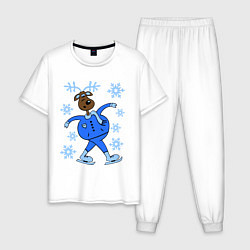 Пижама хлопковая мужская Олень на коньках цвета белый — фото 1