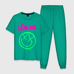 Пижама хлопковая мужская BLINK-182 цвета зеленый — фото 1