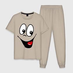 Пижама хлопковая мужская Заразительная улыбка цвета миндальный — фото 1