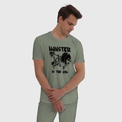 Пижама хлопковая мужская Monster in the gym цвета авокадо — фото 2