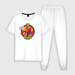 Пижама хлопковая мужская Go Spidey! цвета белый — фото 1