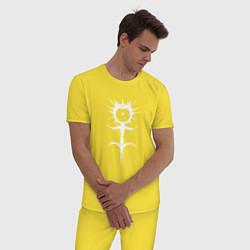 Пижама хлопковая мужская GHOSTEMANE цвета желтый — фото 2